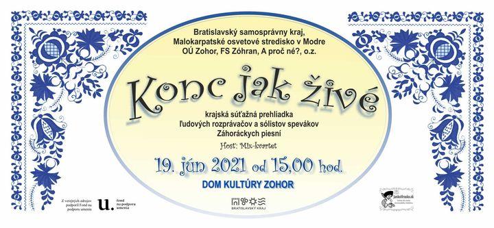 Malokarpatské osvetové stredisko v Modre vás pozýva na  na podujatie Konc jak živé, ktoré sa po prvýkrát bude konať v Kultúrnom …