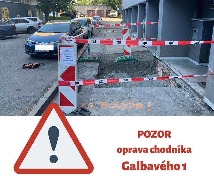 OPRAVA CHODNÍKA NA GALBAVÉHO ⛏🚷  Zvýšte prosím opatrnosť na ulici Galbavého 1. Prebieha tam oprava chodníka. Zároveň prosím tu  …