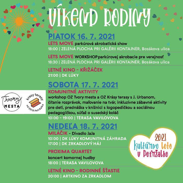 Tretí v poradí Kultúrneho leta v Petržalke 2021 je VÍKEND RODINY. Od 16. do 18. 7. vás čaká parkúrová show, Komunitné aktivity n…