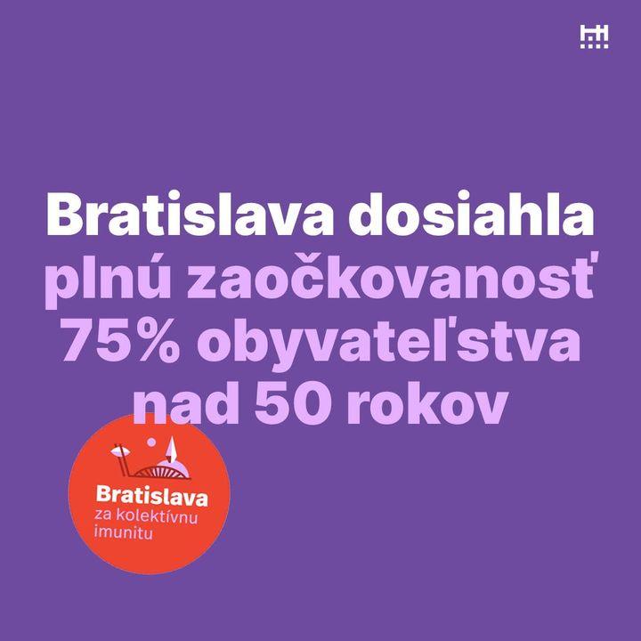 🥳 Výborná správa! Bratislava dnes vo vekovej kategórii 50+ dosiahla 75 % plnú zaočkovanosť. Znamená to, že pri prepínaní Covid s…