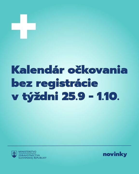 KALENDÁR OČKOVANIA BEZ REGISTRÁCIE NA NAJBLIŽŠÍ TÝŽDEŇ💉  Zaočkovať sa bez registrácie je aj naďalej možné vo všetkých krajoch. V…